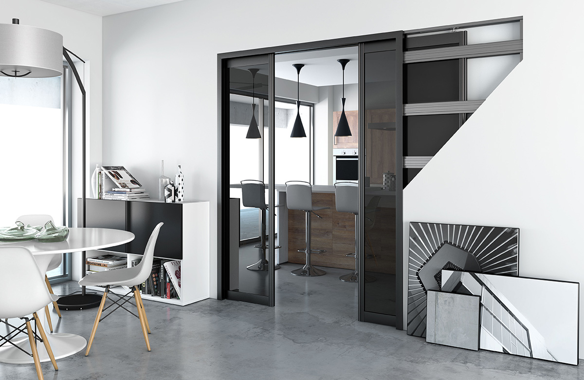separation cuisine sejour good portes avec vue sur le. Black Bedroom Furniture Sets. Home Design Ideas